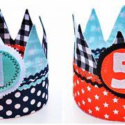 Verjaardagskroon dubbelzijdig te dragen (mintgroen-marineblauw-zwart-oranje)