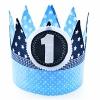 Verjaardagskroon blauw ster en polka dot